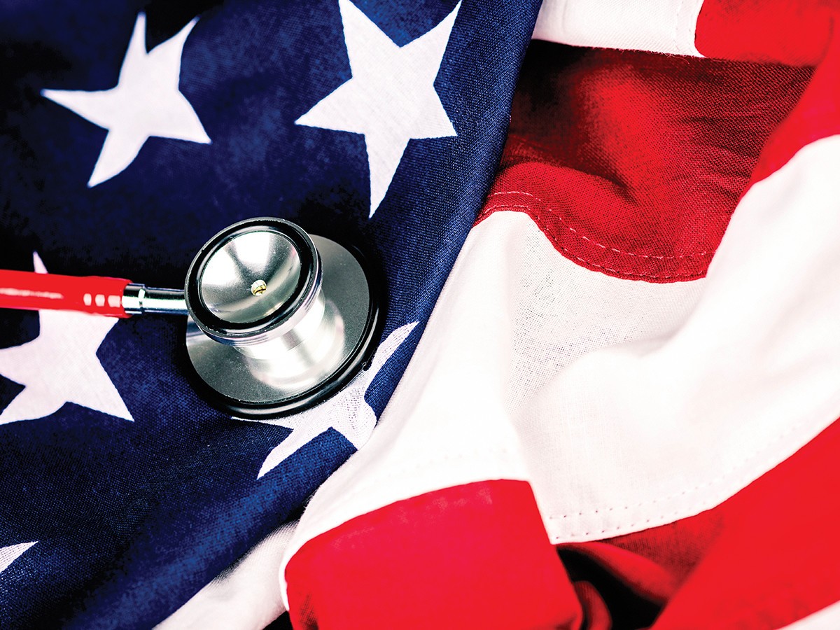 stethoscope over american flag