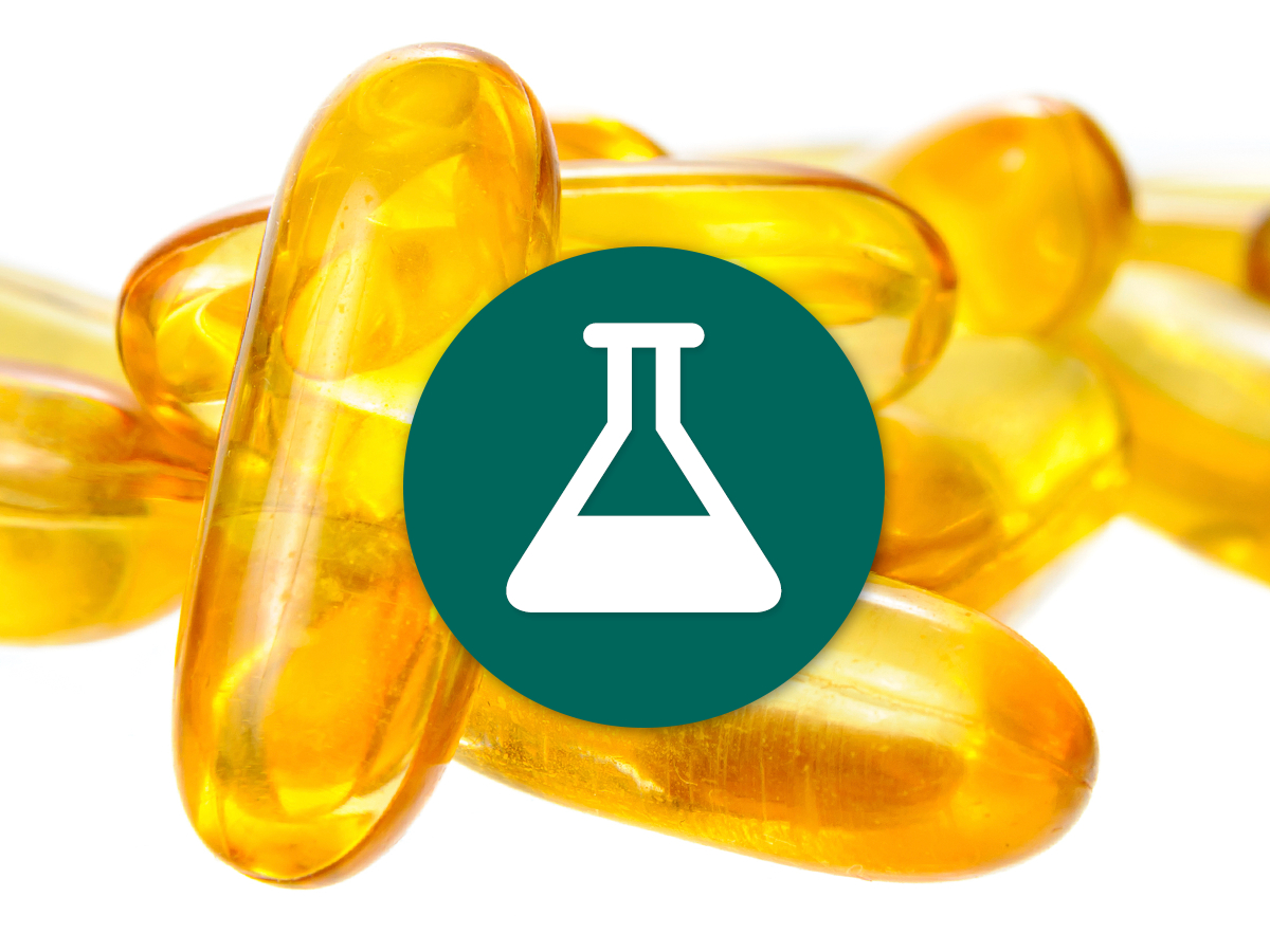 icon of science flask overlayed ontop of vitamin c pills