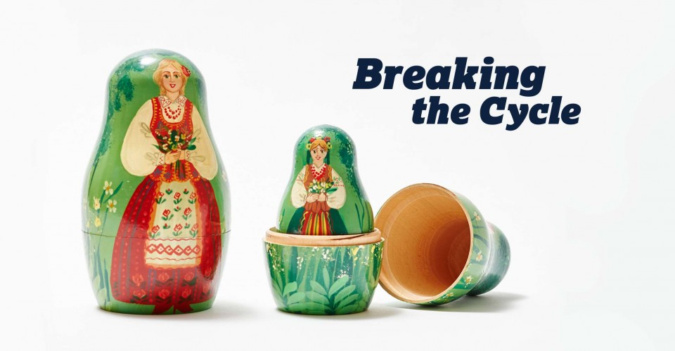 Russian nesting dolls illustrating the cycle of anxiety from parent to child