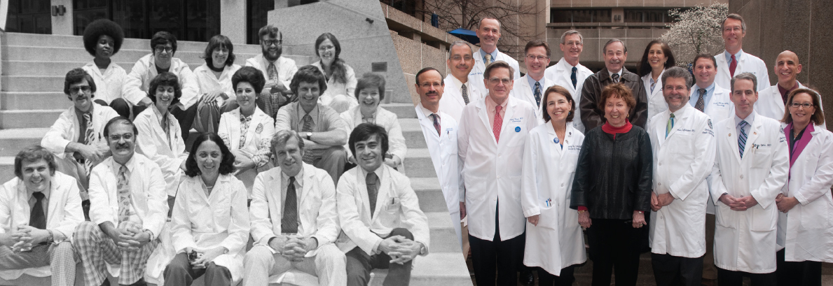 Dr. Naomi Rothfield (front, center in both photos) is pictured with a group of rheumatology fellows in 1976, at left, and among the UConn Health doctors named to Connecticut Magazine's 2012 Top Docs list,  at right.