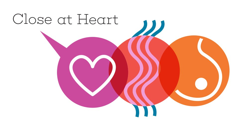 icon illustration of a heart, radiation and a breast