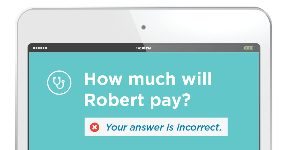 An iPad displaying 'How much will Robert pay? You'r answer is probably incorrect.' artfully