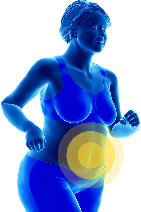 overweight 3D model running with target on metabolic area