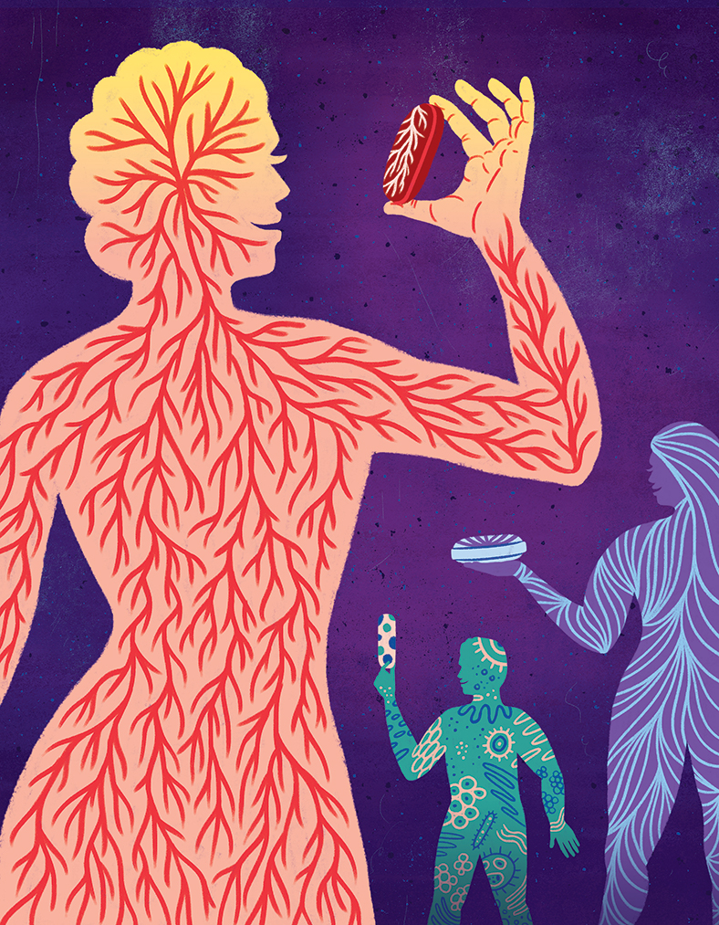 illustration of stylized silhouettes holding their perfectly matched medication