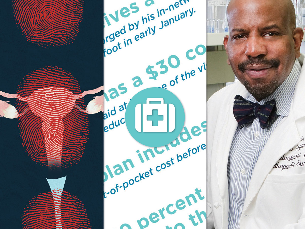 collage: illustration of ovaries, jumbled, unintelligible text, and a photo of Cato Laurencin