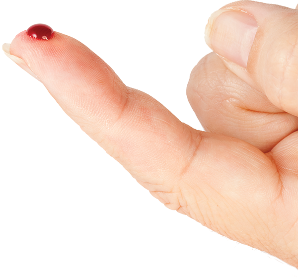 finger pricked with a spot of blood (for blood sugar test)