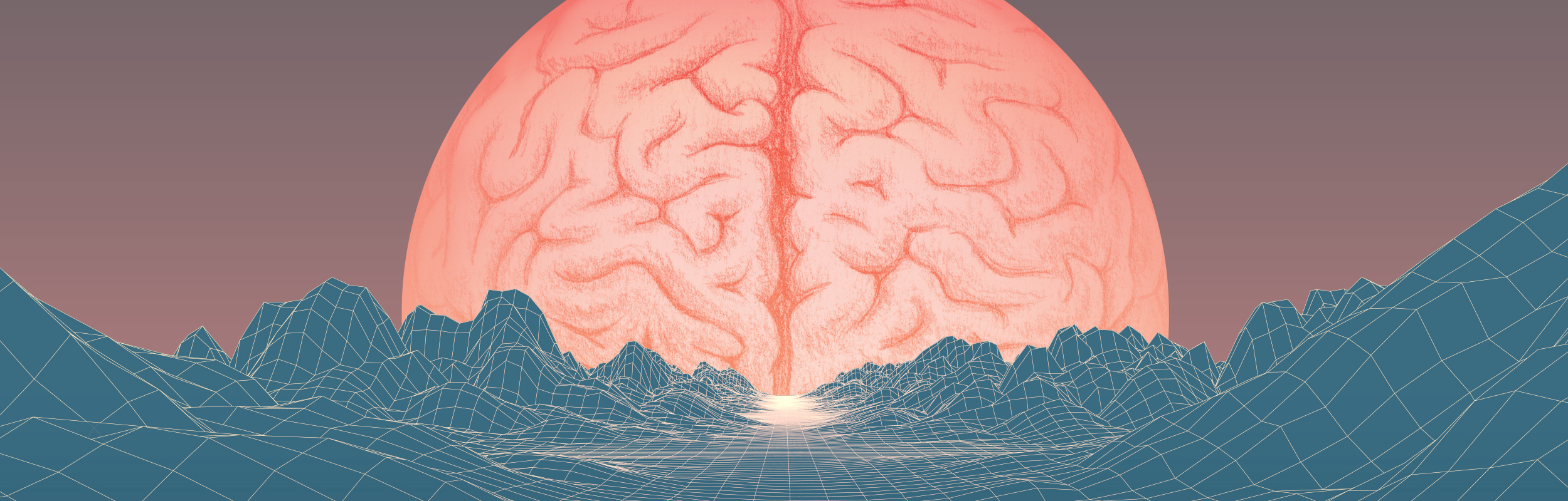 an artsy illustration of a brain overlooking a landscape brain
