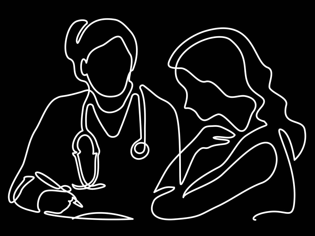 line art of woman doctor and patient