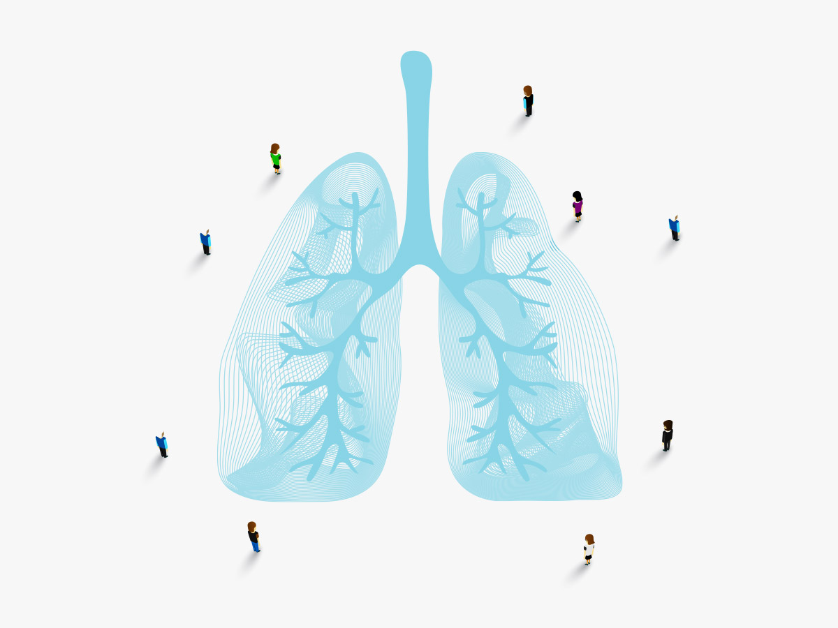 illustration; team of people overlook blue lineart in the shape of a human lung