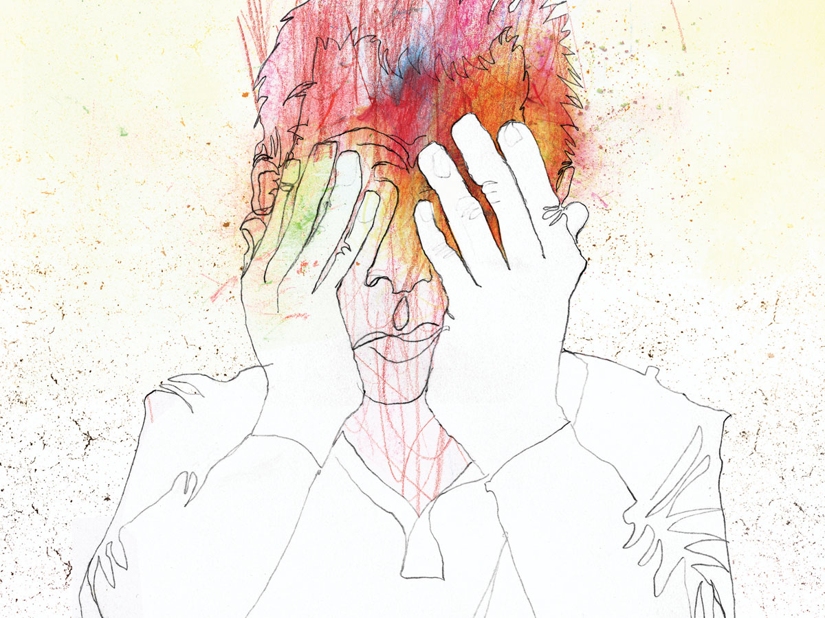 illustration on the concept of anxiety. Features a male with hands held to forhead in slumped possition. Mans face is scribbled.