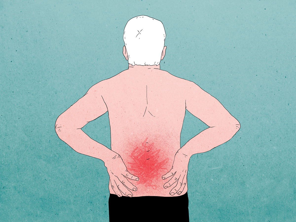 illustration of older man holding back in pain