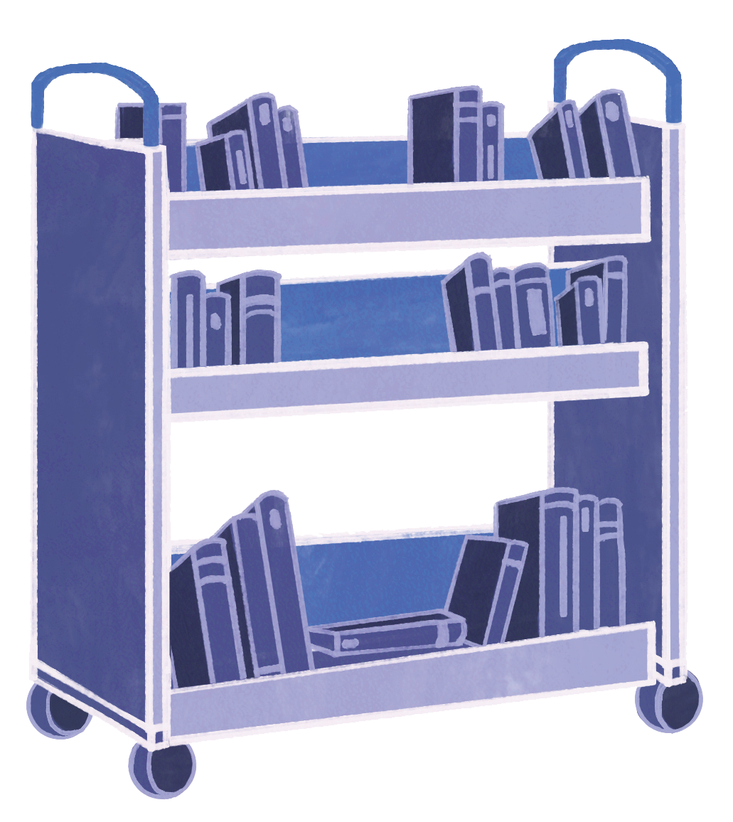 illustration of books in a library cart