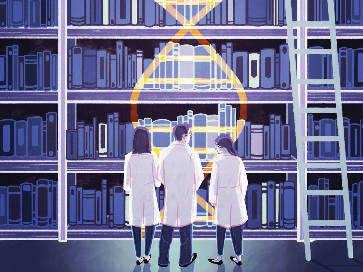 illustration of scientist look over hundreds of books