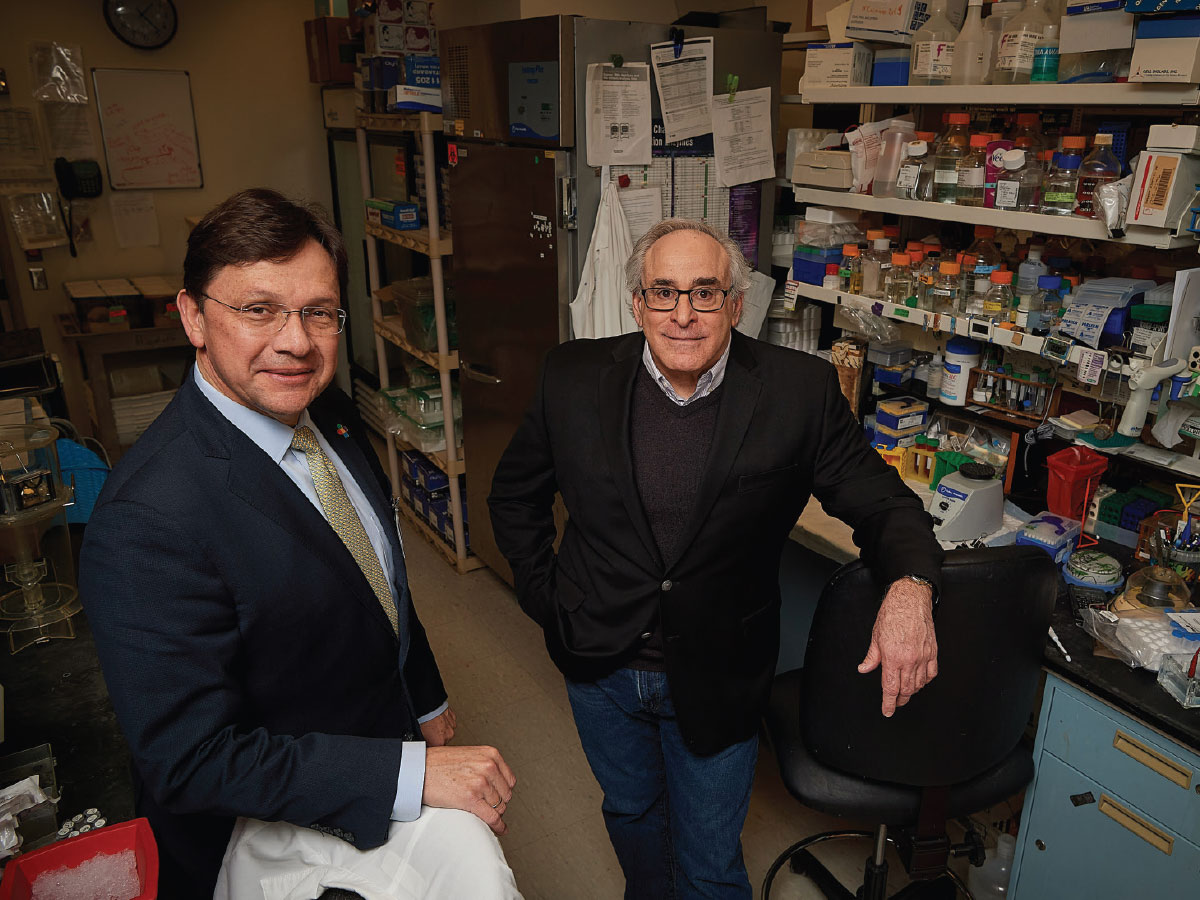 Dr. Juan Salazar, left, and Dr. Justin Radolf in Radolf's lab at UConn Health in Farmington.