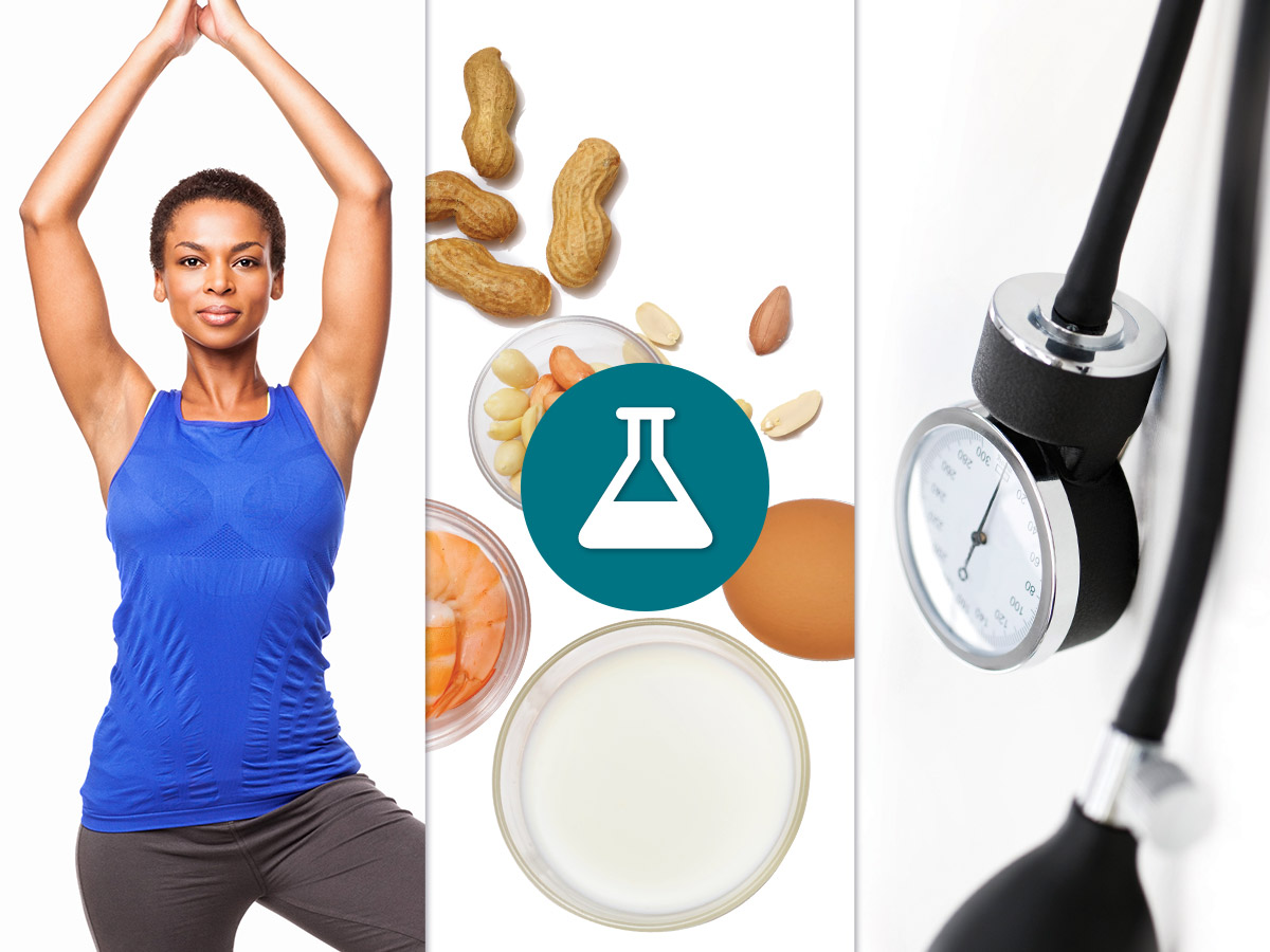 mosaic of yoga, allergens, and medical tool